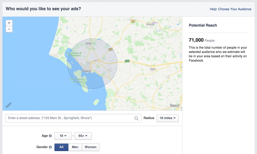 Target an area with Facebook Pins